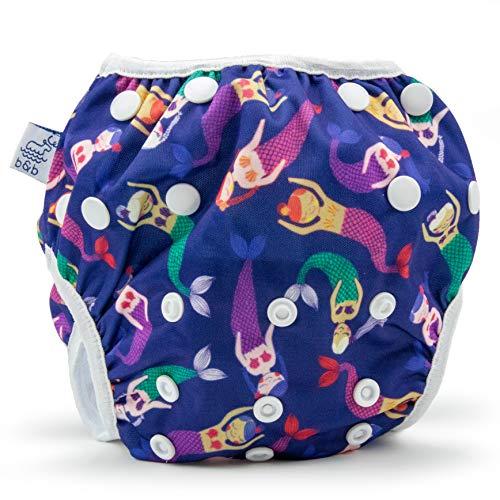 Beau & Belle Littles Eco-Friendly Reusable Swim Diaper Sizes 4- 6 (Lavender Mermaids)