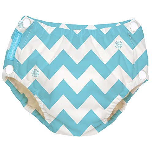 Charlie Banana Reusable Easy Snaps Swim Diaper (CB Blue Chevron)