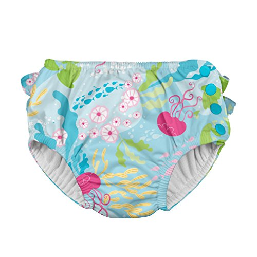 i Play Reusable Absorbent Baby and Toddler Swim Diapers (Aqua Coral Reef)