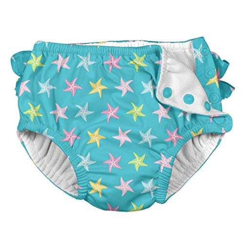 i Play Reusable Absorbent Baby and Toddler Swim Diapers (Aqua Starfish)