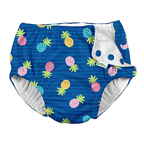 i Play Reusable Absorbent Baby and Toddler Swim Diapers (Blue Pineapple Stripe)