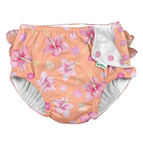 i Play Reusable Absorbent Baby and Toddler Swim Diapers (Coral Hibiscus)