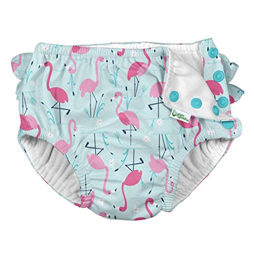 i Play Reusable Absorbent Baby and Toddler Swim Diapers (Light Aqua Flamingos)