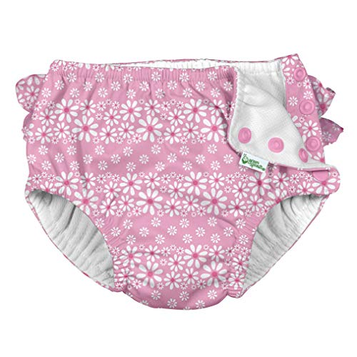 i Play Reusable Absorbent Baby and Toddler Swim Diapers (Light Pink Daisy Stripe)