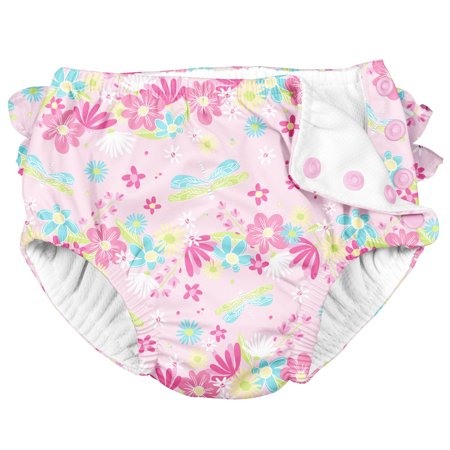i Play Reusable Absorbent Baby and Toddler Swim Diapers (Light Pink Dragonfly Floral)
