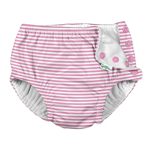 i Play Reusable Absorbent Baby and Toddler Swim Diapers (Light Pink Pinstripe)