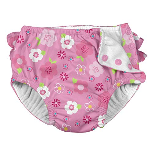 i Play Reusable Absorbent Baby and Toddler Swim Diapers (Pink Floral)