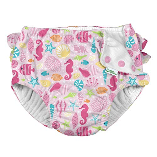 i Play Reusable Absorbent Baby and Toddler Swim Diapers (Pink Sealife)