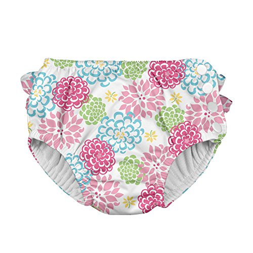 i Play Reusable Absorbent Baby and Toddler Swim Diapers (White Zinnia)