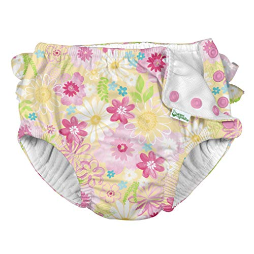 i Play Reusable Absorbent Baby and Toddler Swim Diapers (Yellow Watercolor Floral)