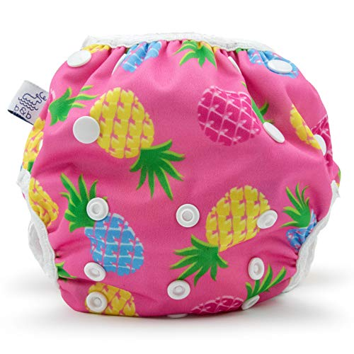 Beau & Belle Littles Eco-Friendly Reusable Swim Diaper Sizes 4- 6 (Pink Pineapples)