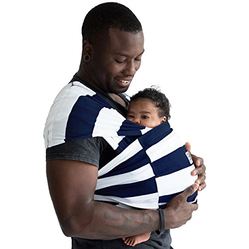 Baby K'tan Print Baby Wrap Carrier, Infant and Child Sling (Navy Stripe)