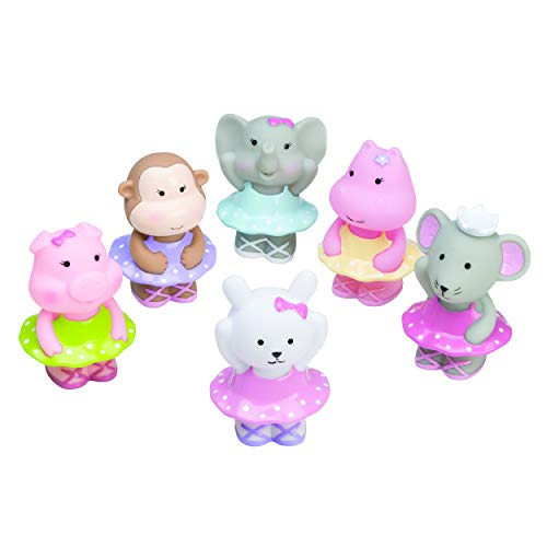 Elegant Baby 6 Piece Bath Time Fun Rubber Water Squirties, Ballerina Monkey, Elephant, Animal Squirt Toys