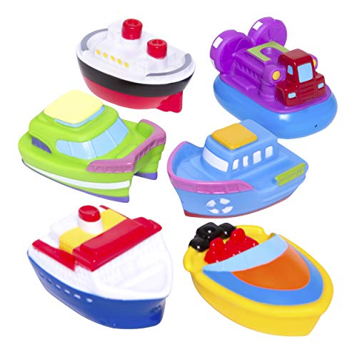 Elegant Baby Bath Time Fun Rubber Water Squirties, Boat Party, Set of 6 Squirt Toys