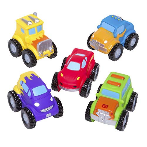 Elegant Baby Bath Time Fun Rubber Water Squirties, Monster Truck Party, Set of 6 Squirt Toys