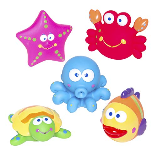 Elegant Baby Bath Time Fun Rubber Water Squirties, Lagoon Party, Set of 6 Squirt Toys