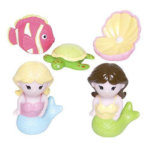 Elegant Baby Bath Time Fun Rubber Water Squirties, Mermaid Party, Set of 6 Squirt Toys