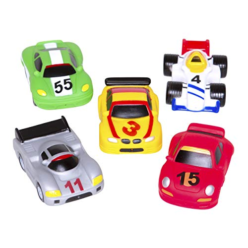 Elegant Baby Bath Time Fun Rubber Water Squirties, Race Car Party, Set of 6 Squirt Toys
