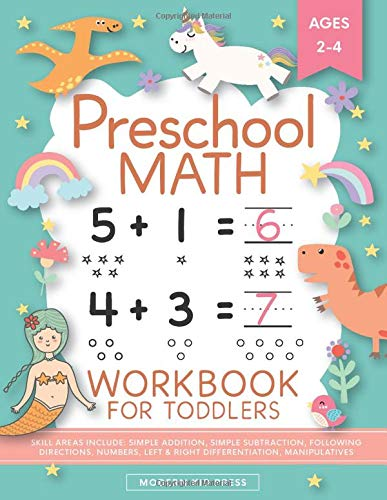 Preschool Math Workbook for Toddlers Ages 2-4: Beginner Math Preschool Learning Book with Number Tracing and Matching Activities