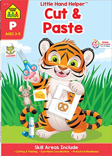 School Zone – Cut & Paste Skills Workbook – Ages 3 to 5, Preschool to Kindergarten, Scissor Cutting, Gluing, Stickers, Story Order, Counting, and More
