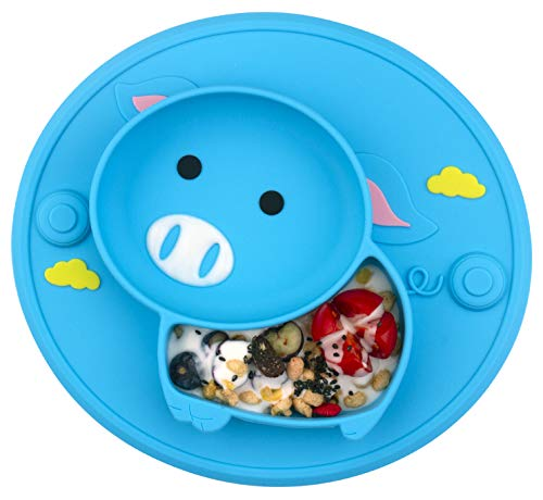Baby Divided Plate Silicone- Portable Non Slip Child Feeding Plate with Suction Cup for Children Babies and Kids (Pig-Blue)