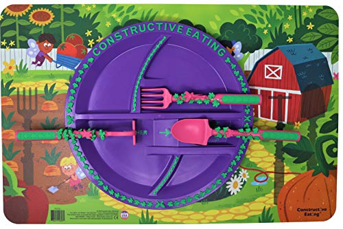 Constructive Eating Garden Fairy Combo with Set of 3 Utensils, Plate and Placemat for Toddlers, Babies and Kids
