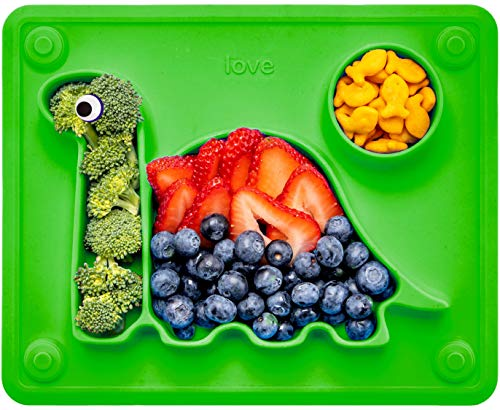 Lilly's Love The Happy Good Dino Suction Plate for Toddlers (Green)