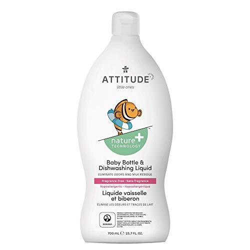 ATTITUDE Non-Toxic Ecologo Certified Baby Dish Soap, Fragrance-Free