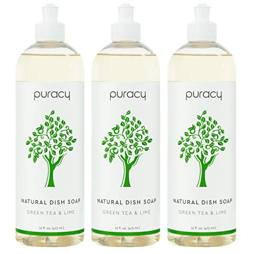Puracy Natural Dish Soap, Green Tea & Lime, Sulfate-Free Liquid Detergent