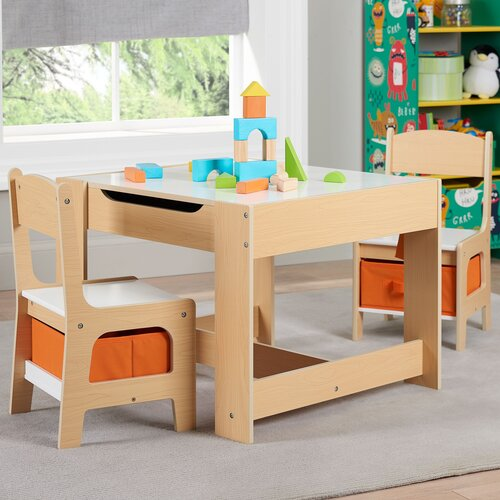 Senda Kids' 3 Piece Wooden Storage Table and Chairs Set, Only $59.98 Shipped (save $30)!